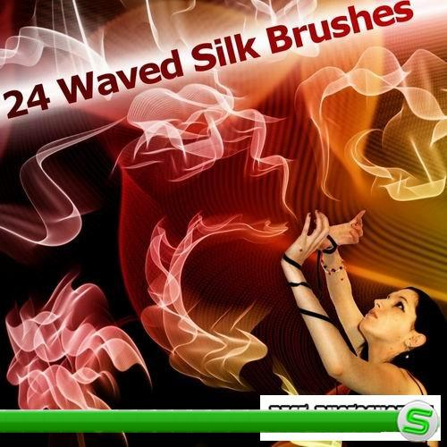 24 waved silk brushes