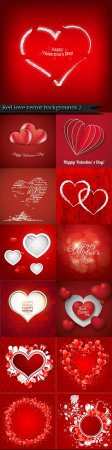 Red love vector backgrounds 2